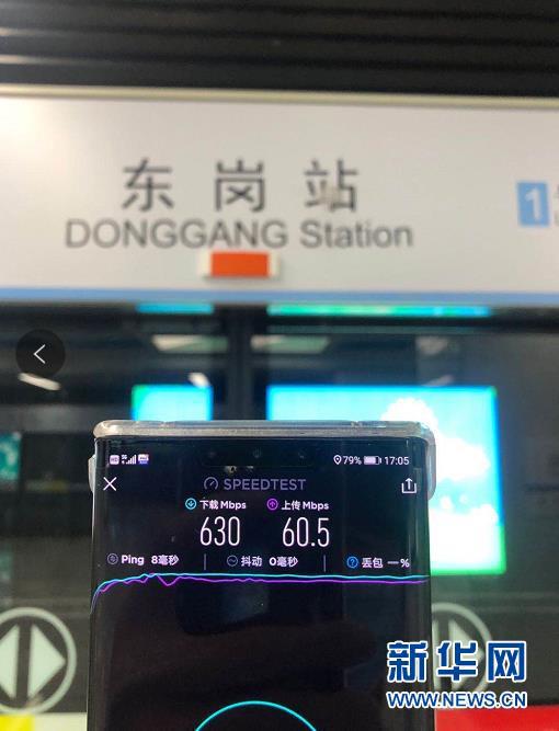 地铁站内,工作人员测试5G速率。 (照片由甘肃移动提供)