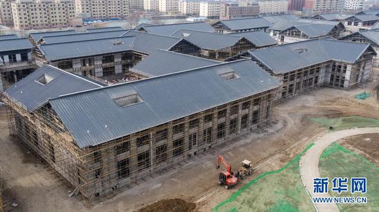 这是3月7日拍摄的武威雷台景区文化旅游综合体项目施工现场(无人机照片)。新华社记者 郎兵兵 摄