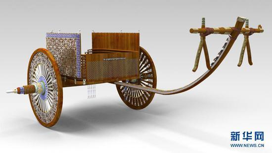 这是马家塬西戎墓葬出土的一辆战国马车的复原效果图。新华社发(甘肃省文物考古研究所供图)