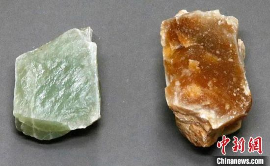 图为敦煌旱峡玉矿遗址出土的山料。(资料图)甘肃省文物考古研究所供图