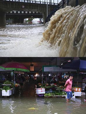 广西柳州遭暴雨袭城 多路段积水严重