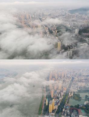 广西梧州城区云雾绕城 美不胜收