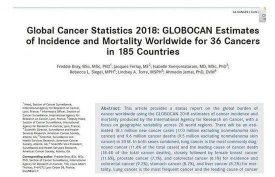 《2018年全球癌症统计数据》