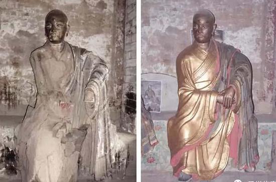 青莲寺罗汉堂尊者彩塑修缮前后对比。 陕西文保图