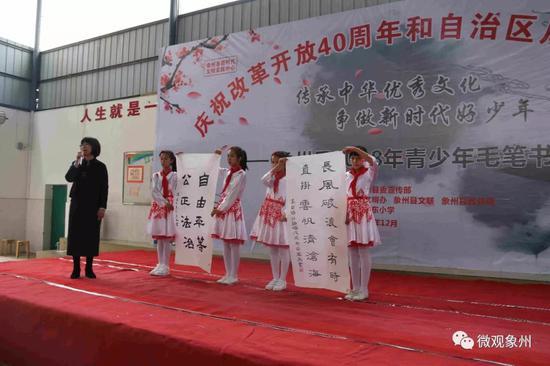 中国书法家协会会员,来宾市书法家协会副主席李小萍老师点评选手作品。