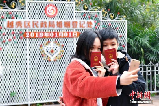 资料图:一对新人领取结婚证后合影。中新社记者 陈骥旻 摄