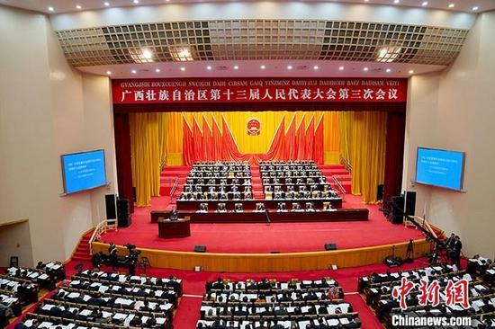 资料图:1月12日,广西壮族自治区第十三届人民代表大会第三次会议在南宁开幕。中新社记者 陈冠言 摄
