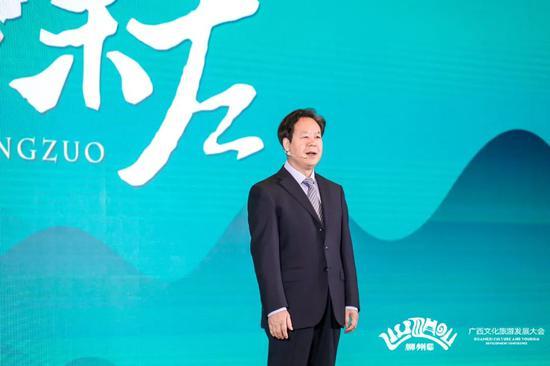 ▲市委书记刘有明代表崇左进行竞选演讲。