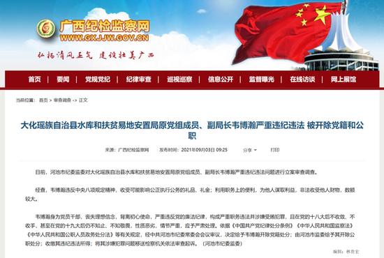 纪委通报!广西多名领导干部因违纪违法被双开