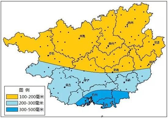 广西2018年8月降水量预测