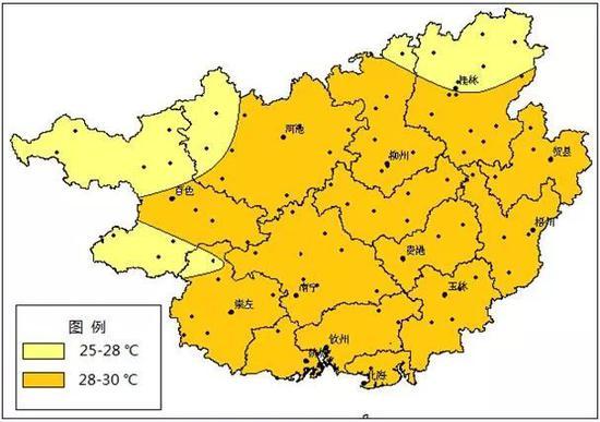 广西2018年8月平均气温预测