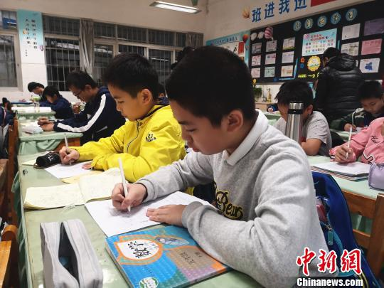 学生正在写作业。 朱柳融 摄
