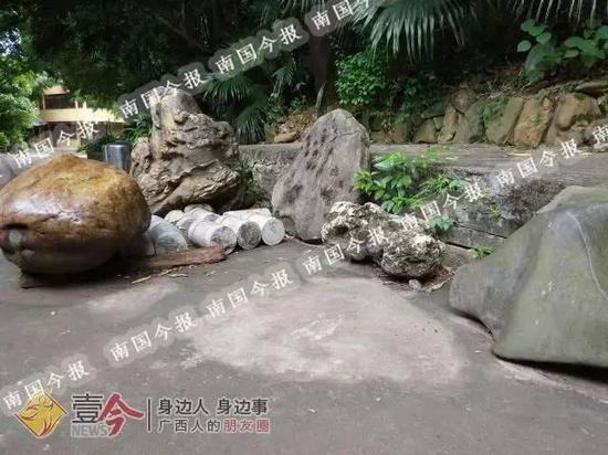 200公斤的奇石被盗走后,箭盘山脚原来放置奇石的地方还留有一片清晰的痕迹。