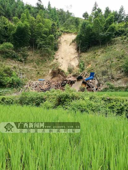 图为崩塌地质灾害现场。三江侗族自治县国土资源局供图