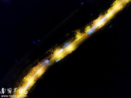 【夜路】 夜幕下的青环路流光溢彩。