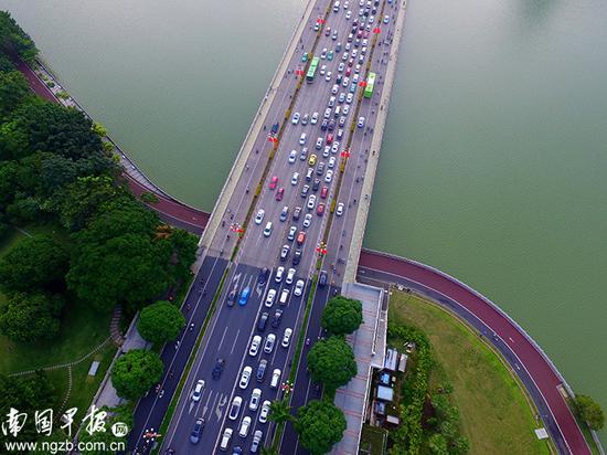 【奔波】 下班高峰期,南湖大桥上流动的车河自成风景。