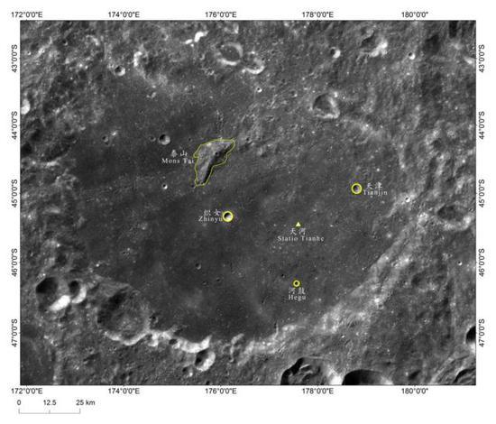 图1。嫦娥四号着陆区地理实体命名影像图