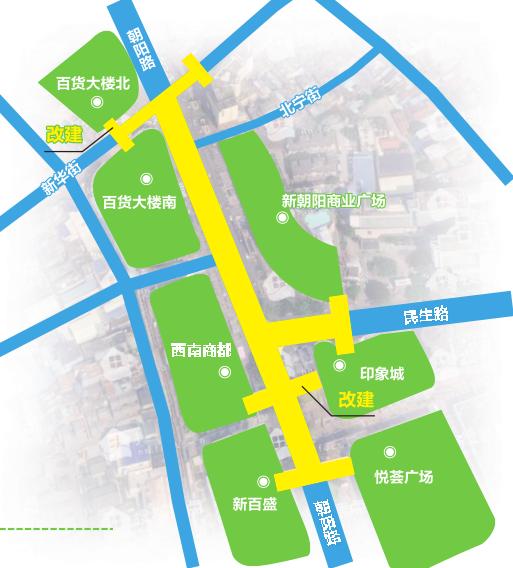 """增改5座天桥 朝阳商圈将建""""空中联廊""""连通各大商场"""