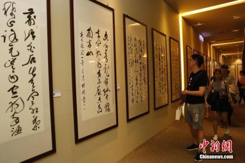 图为一名游客正在参观书画展览。中新社记者 陈小愿 摄