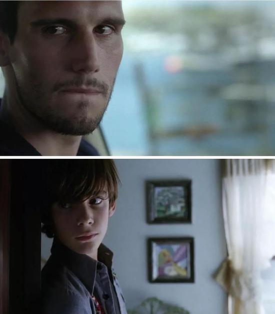 ▲长大后想要自杀的凯文与小时候目睹母亲自杀的凯文。来源:《奥丽芙·基特里奇》剧照。