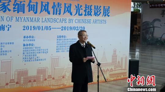 图为广西国际文化交流中心理事长高雄在开展仪式上致辞。 张忠浪 摄