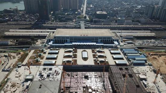 贵港高铁站前广场建设进度来啦!春节前完成主体建设