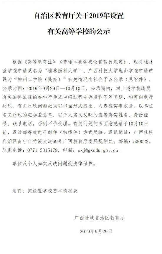 正在公示!广西科技大学鹿山学院申请转设为柳州工学院