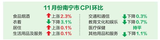 11月份南宁食品价格持续上涨 影响CPI上行