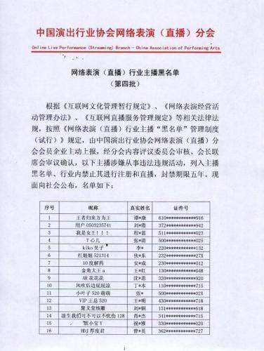 第四批主播黑名单公布 这42名主播被封禁5年