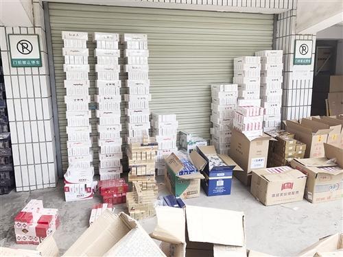 执法人员在仓库查获的走私香烟(兴宁警方供图)