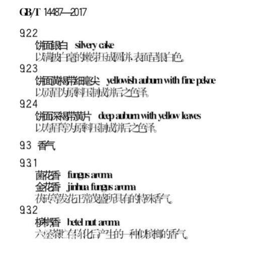 (《六堡茶感官审评术语》国标内容节选)