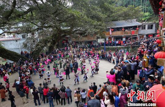 广西柳州苗寨芦笙踩堂引游客围观(组图)
