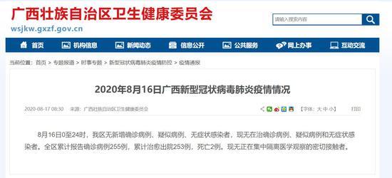 8月16日广西无在治确诊病例、疑似病例和无症状感染者