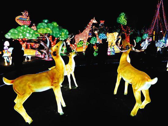 《动物世界》组灯栩栩如生 本报记者赖有光摄