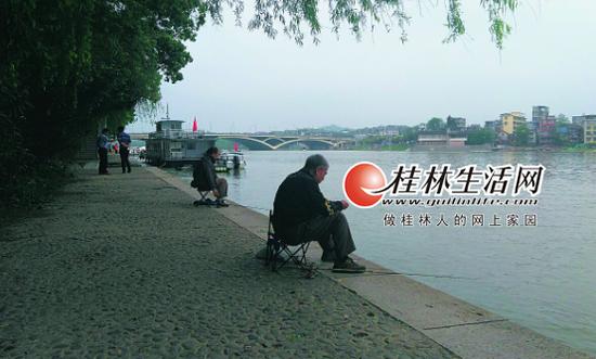 14日上午,滨江路河段的垂钓者。记者姚茂贤 摄