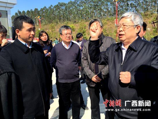 资料图:国家扶贫办党组书记、主任刘永富到老乡家园-上林扶贫移民安置小区项目进行调研。