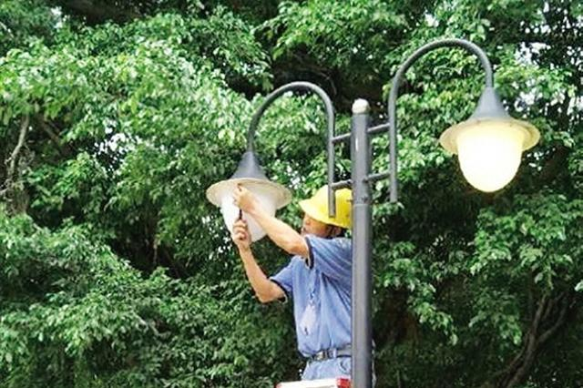 南宁加强广场路灯维护 保障两会期间亮化