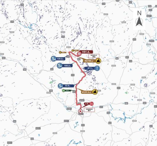 (南宁-弄拉景区赛段路线图)