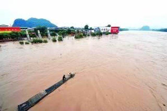 广西8时发布洪水蓝色预警 部分河段将出现超警洪水