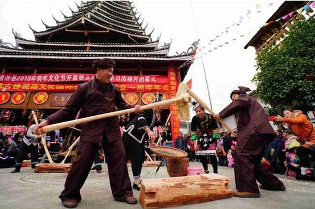 广西龙胜侗族欢庆侗年 广南村获赠100台学习机器人
