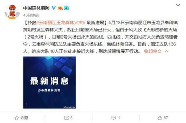 丽江发生森林火灾:原火场已灭 新火场正扑救