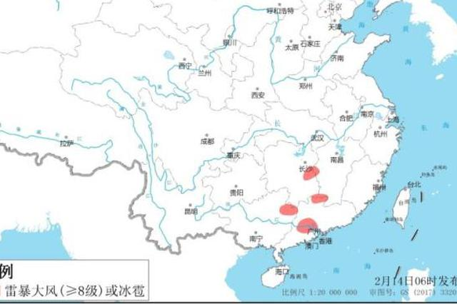 强对流蓝色预警 广西广东部分地区有雷暴大风冰雹