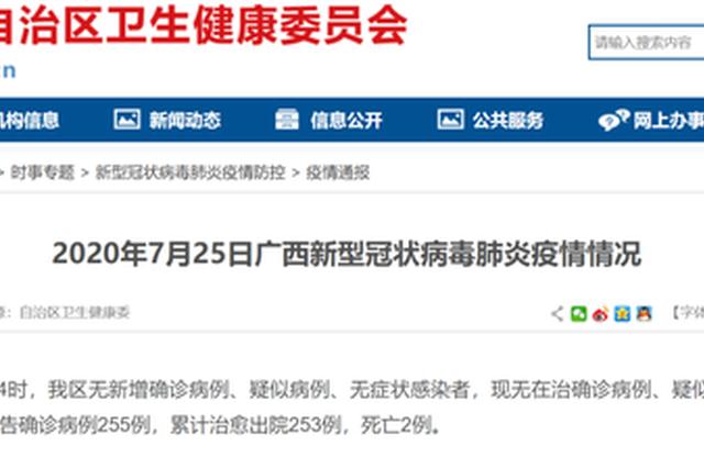 7月25日广西无在治病例、疑似病例和无症状感染者