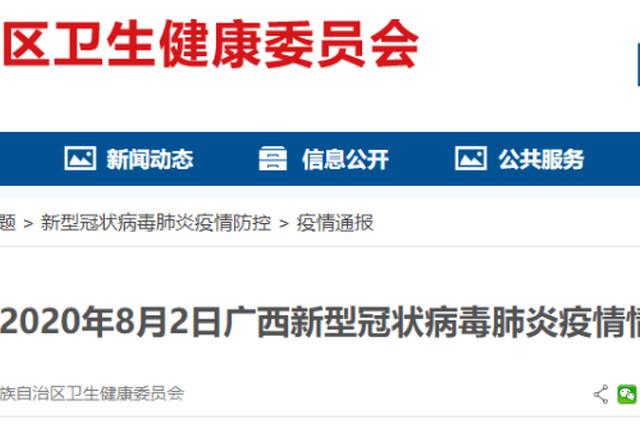 8月2日广西现有协查外省病例密切接触者1人 隔离中