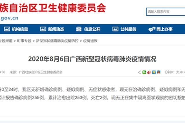 8月6日广西无在治确诊病例、疑似病例、无症状感染者