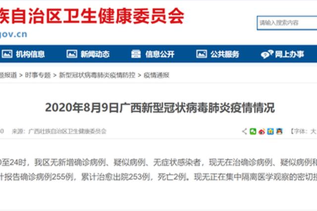 8月9日广西无在治确诊病例、疑似病例和无症状感染者