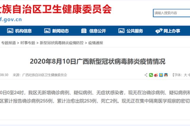 8月10日广西无在治确诊病例、疑似病例和无症状感染者