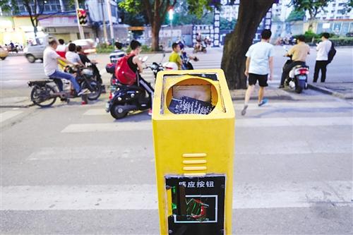 衡阳路师范大学南门的过街感应器被破坏 本报记者 宋延康 摄