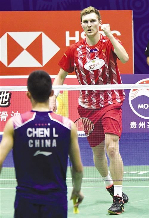 世界排名第三的丹麦选手安赛龙直落两局击败谌龙 本报记者 宋延康 摄