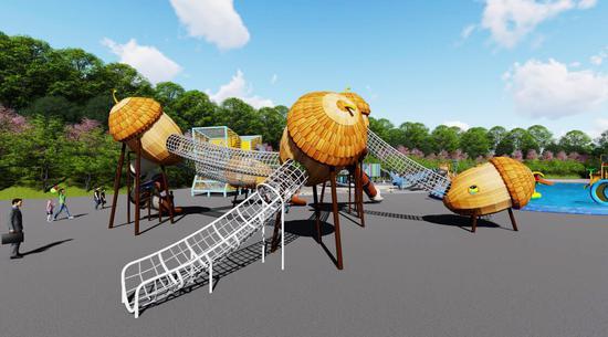 淘趣宝是南宁李宁体育园正在打造的大型主题游乐设施,预计将于春节后安装调试服务游客。图为淘趣堡-大榛子。